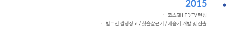 2015 | 코스텔 LED TV런칭 / 빌트인 쌀냉장고 / 칫솔살균기 / 제습기 개발 및 진출